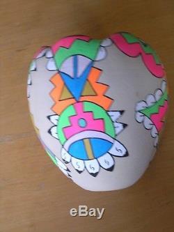 Large 8+ Vintage Tesuque Southwest Indian Pueblo Poster Paint Pottery Olla Vase
