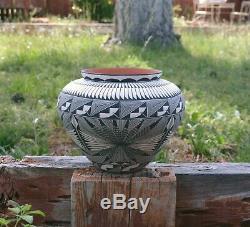 Large Acoma Pueblo Indian Pottery Bowl Black White Fine Line Corrine Chino