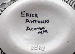 Large Fine Line Erica Antonio Acoma Pueblo Bowl! Free Shipping