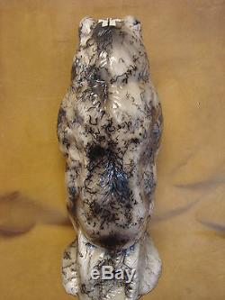 Large Native American Pottery Horse Hair Etched Bear Sculpture by Vail! Navajo