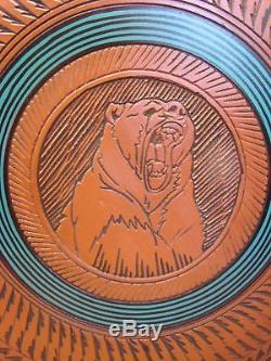 Large Navajo Indian Pottery Hand Etched Bear Pot by Watchman! Native American