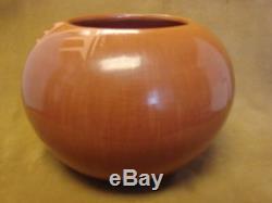 Large Santa Clara Indian Pottery Handmade by Birdell Vine Flower! Hand Coiled PT