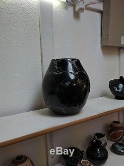Large! Santa Clara Pottery Native Indian Pueblo Buffalo by Norman Red Star