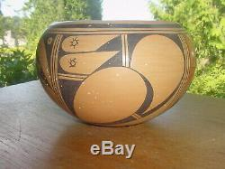 Large Vintage Hopi Indian Pottery Bowl By Vivian Shula