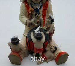 Loving Native American Family Clay Figures Decorative Indians Sculptures