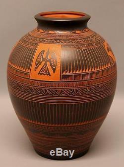 Lrg Vintage Signed A. JOE NAVAJO Native American Indian Incised Pottery Pot Vase
