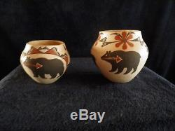 M Antonio Rare Matching Acoma Native American Pottery Bear Deer Flowers