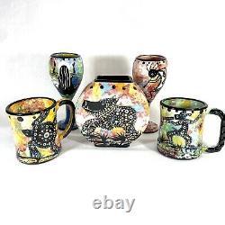 Mana Pottery Apache Native American Pottery Gilbert Ortega Signed Vase Mug Glass