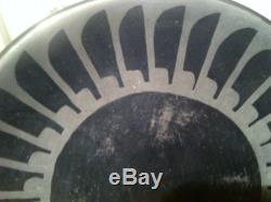 Maria Martinez Small Eagle Feather Plate. Black On Black, Signed Marie & Santana
