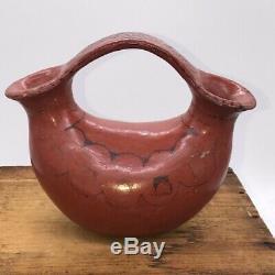 Maricopa Pueblo Wedding Vase, H5.75xW7 Native American Pottery