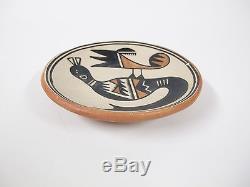 Marie Martinez San Ildefonso Pueblo Small Shallow Pottery Bowl Bird Motif 5 Inch