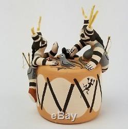 Marilyn Ray Henderson Native American Pottery Pueblo Clowns on Drum Storyteller