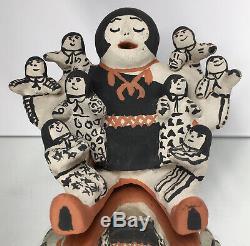 Martha Arquero Cochiti Native American Storyteller Pottery Figure with 8 Children