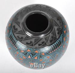 Marvin Blackmore Intricate Etched Art Pottery Vase Southwest Native American 5
