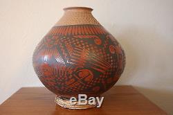 Mata Ortiz Pueblo Pottery Olla Pot Rounded Bottom Artist Signed Soccoro Sandoval