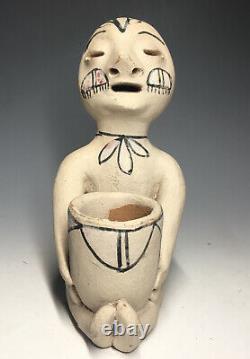 Mid 20th C. Tesuque Native American Pueblo Rain God Pottery Figure Terra Cotta