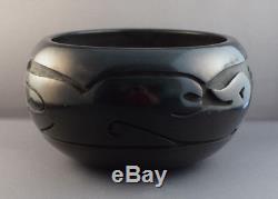 Mida Tafoya (b 1931) Santa Clara Pueblo Carved Avanyu Blackware Pottery Olla Jar