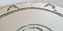 Mimbres Design Black on White Bowl with Crane and Fish Signed MF 1/95