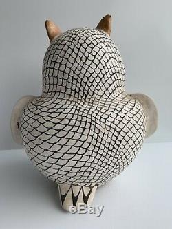 Monumental 12 Vintage Signed Eva Histia Acoma N. M. Pottery Owl Native American
