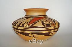 Museum Quality Native American Old HOPI Pottery OLLA Signed VERNA NAHEE