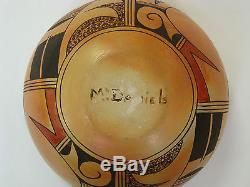 Myra Daniels Hopi Polychrome Bowl Parrot Design-Native American Pueblo Pottery