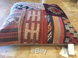 NEW WithTags Pottery Barn Kilim Pillow Cover 24x24 100% Wool Hand Knotted