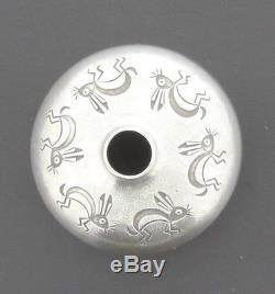 NORBERT Peshlakai Small Silver Seed Pot Signal Hare Motif Design 2 Diameter