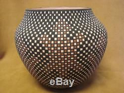 Native American Acoma Hand Painted Checkered Pot by Terrance M. Chino Sr! Hand
