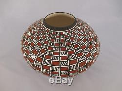 Native American Acoma Indian Pottery Bowl Red White and Black by Paula Estevan