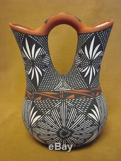 Native American Acoma Indian Pottery Hand Painted Wedding Vase by Jay Vallo