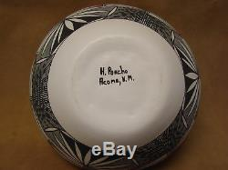 Native American Acoma Indian Pottery Handmade & Painted Pot by Poncho