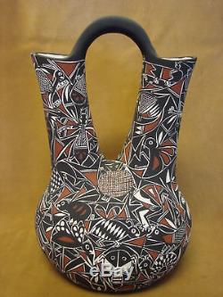 Native American Acoma Nature Wedding Vase Hand Painted by C. Estevan