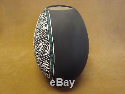Native American Acoma Pueblo Hand Etched Eagle Pot by RLN Garcia