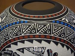 Native American Acoma Pueblo Hand Etched Hummingbird Pot by RLN Garcia