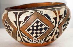 Native American Acoma Pueblo Polychrome Pottery Olla Bowl c. 1920