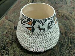 Native American Acoma Pueblo Pottery Polychrome Vase Bowl Pot Signed C. Garcia