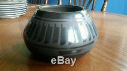 Native American Blue Corn San Ildefonso Pueblo Black on Black Pot