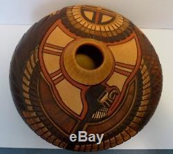Native American Crafts Hopi Carved Pot by Tom Polacca