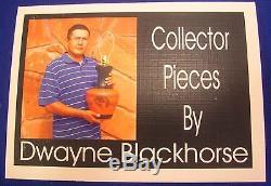 Native American Dwayne Blackhorse Wood Grain Finish Pottery Large Eagle Vase