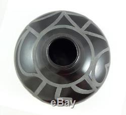Native American Handmade Black Pottery Vase Signed GG 1989 S