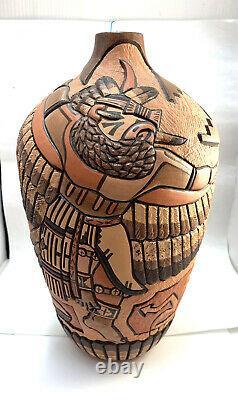 Native American Handmade Hopi Eagle Pottery Design