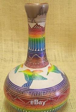 Native American Handmade Horsehair Pottery by Hilda Whitegoat Hummingbird Vase