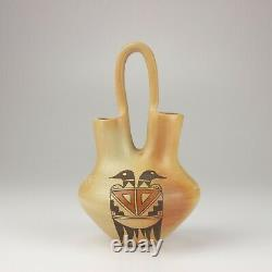 Native American Hopi Pottery Small Wedding Vase, Elton Nampeyo, Polychrome Ducks