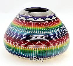 Native American Horsehair Pottery with Hummingbird By Marshalene Bennett