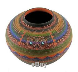 Native American Indian Pottery Navajo Vase with Butterfly Signed