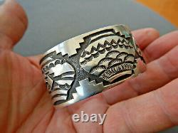 Native American Indian Sterling Silver Navajo Pottery Stamped Cuff Bracelet JS