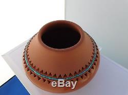 Native American Isleta Pottery Vase By Caroline Carpio