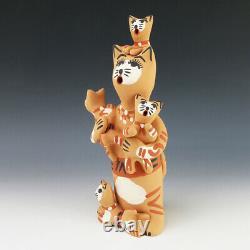 Native American Jemez Pottery Cat Storyteller By Bonnie Fragua