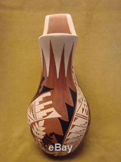 Native American Jemez Pueblo Pottery Clay Wedding Vase by G. Sandia