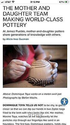 Native American Jemez Pueblo Pottery Signed Dominique Toya-Free Shipping